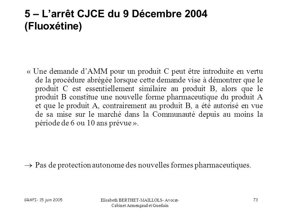 GRAPI- 15 juin 2005 Elisabeth BERTHET-MAILLOLS- Avocat- Cabinet Armengaud et Guerlain 73 5 – Larrêt CJCE du 9 Décembre 2004 (Fluoxétine) « Une demande