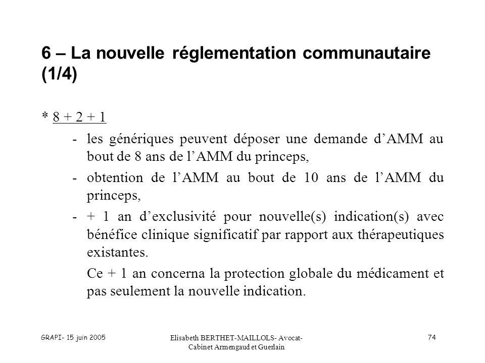 GRAPI- 15 juin 2005 Elisabeth BERTHET-MAILLOLS- Avocat- Cabinet Armengaud et Guerlain 74 6 – La nouvelle réglementation communautaire (1/4) * 8 + 2 + 1 -les génériques peuvent déposer une demande dAMM au bout de 8 ans de lAMM du princeps, -obtention de lAMM au bout de 10 ans de lAMM du princeps, -+ 1 an dexclusivité pour nouvelle(s) indication(s) avec bénéfice clinique significatif par rapport aux thérapeutiques existantes.