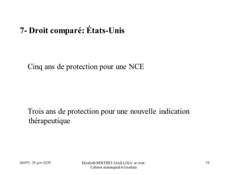 GRAPI- 15 juin 2005 Elisabeth BERTHET-MAILLOLS- Avocat- Cabinet Armengaud et Guerlain 78 7- Droit comparé: États-Unis Cinq ans de protection pour une