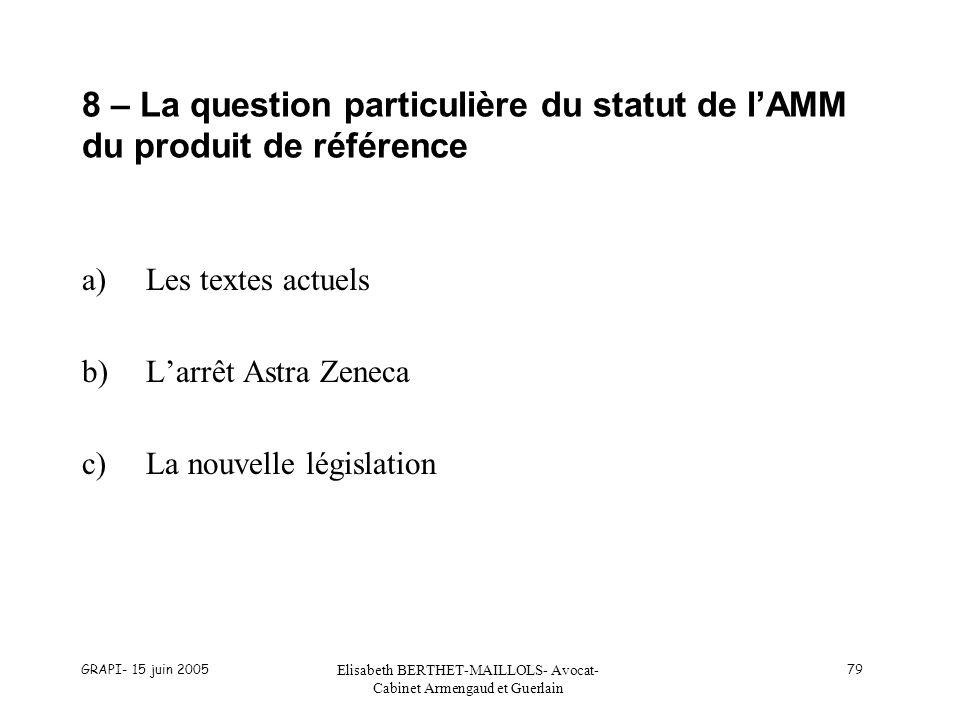 GRAPI- 15 juin 2005 Elisabeth BERTHET-MAILLOLS- Avocat- Cabinet Armengaud et Guerlain 79 8 – La question particulière du statut de lAMM du produit de