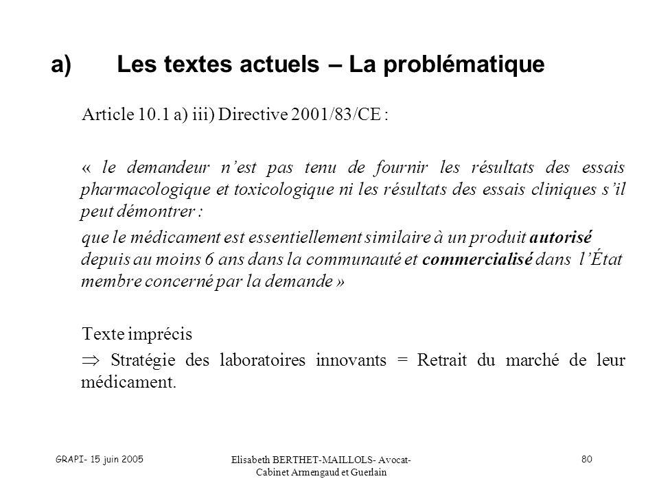 GRAPI- 15 juin 2005 Elisabeth BERTHET-MAILLOLS- Avocat- Cabinet Armengaud et Guerlain 80 a)Les textes actuels – La problématique Article 10.1 a) iii)