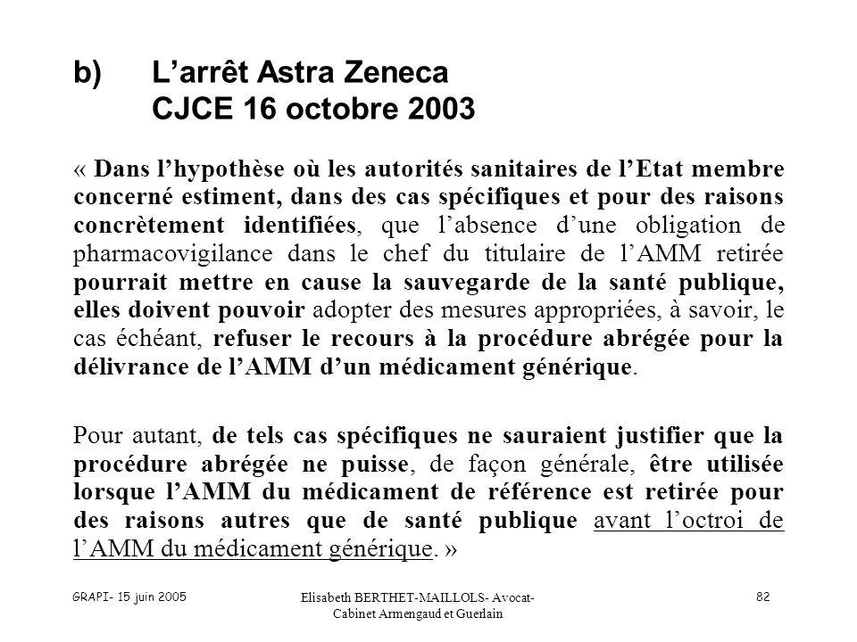 GRAPI- 15 juin 2005 Elisabeth BERTHET-MAILLOLS- Avocat- Cabinet Armengaud et Guerlain 82 b)Larrêt Astra Zeneca CJCE 16 octobre 2003 « Dans lhypothèse
