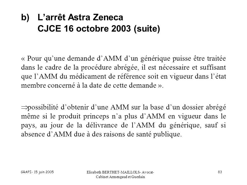 GRAPI- 15 juin 2005 Elisabeth BERTHET-MAILLOLS- Avocat- Cabinet Armengaud et Guerlain 83 b)Larrêt Astra Zeneca CJCE 16 octobre 2003 (suite) « Pour quu