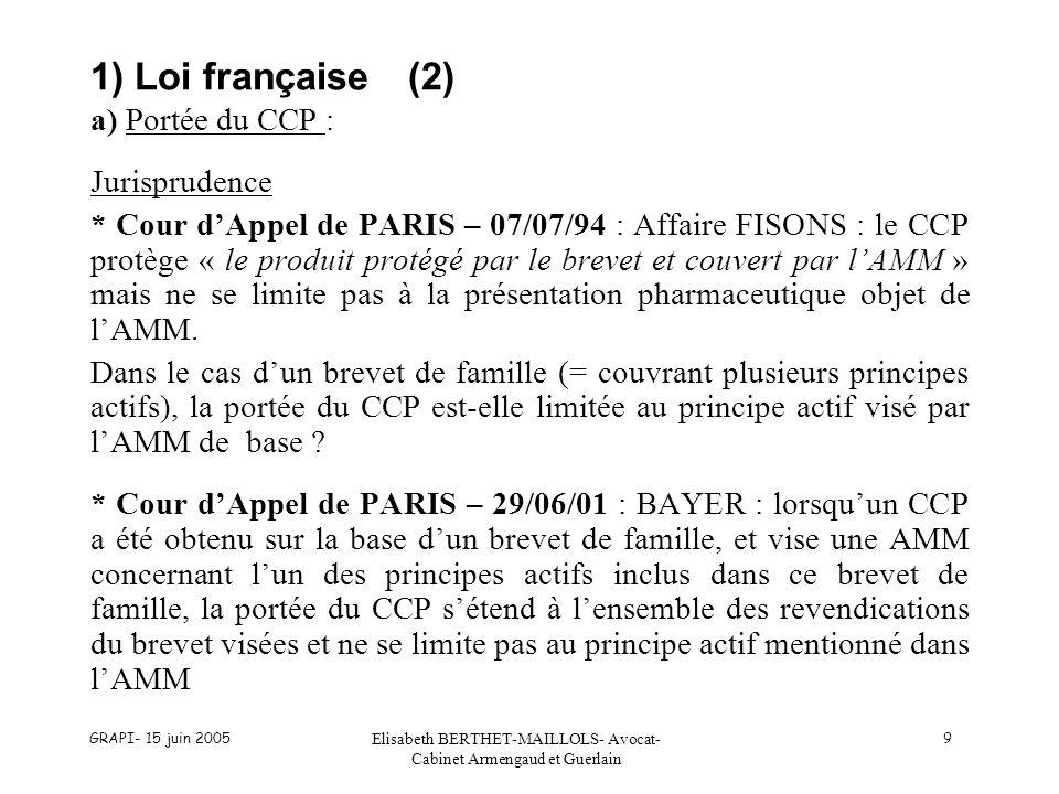 GRAPI- 15 juin 2005 Elisabeth BERTHET-MAILLOLS- Avocat- Cabinet Armengaud et Guerlain 9 1) Loi française(2) a) Portée du CCP : Jurisprudence * Cour dAppel de PARIS – 07/07/94 : Affaire FISONS : le CCP protège « le produit protégé par le brevet et couvert par lAMM » mais ne se limite pas à la présentation pharmaceutique objet de lAMM.