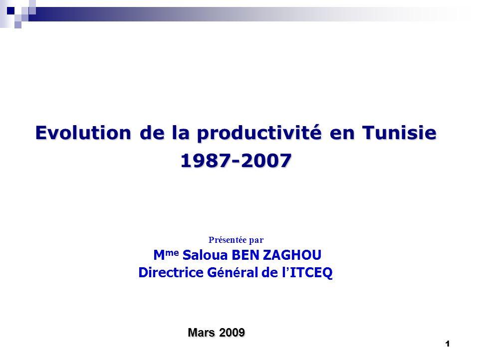 11 Evolution de la productivité en Tunisie 1987-2007 Présentée par M me Saloua BEN ZAGHOU Directrice G é n é ral de l ITCEQ Mars 2009