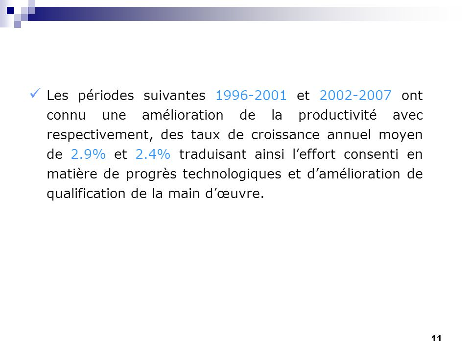 11 Les périodes suivantes 1996-2001 et 2002-2007 ont connu une amélioration de la productivité avec respectivement, des taux de croissance annuel moye