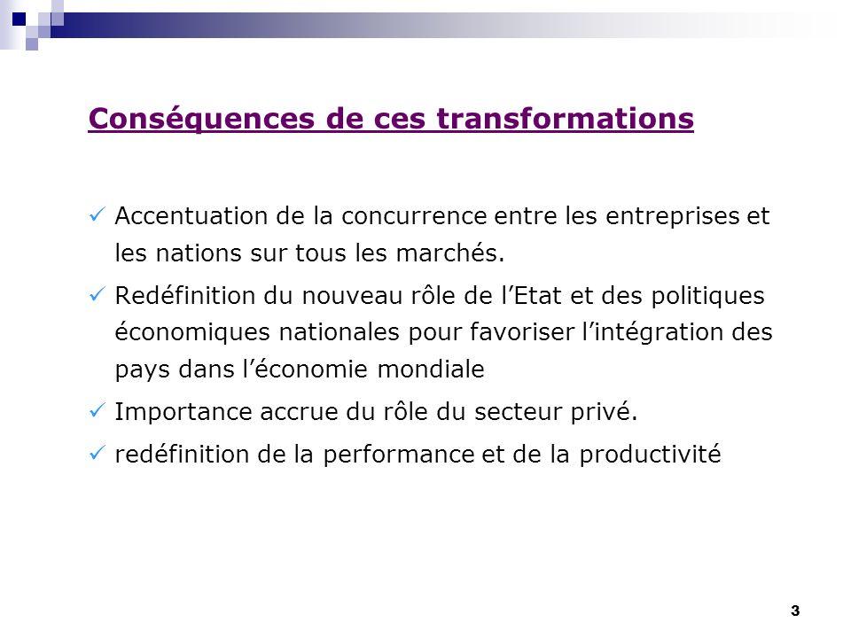 3 Conséquences de ces transformations Accentuation de la concurrence entre les entreprises et les nations sur tous les marchés. Redéfinition du nouvea