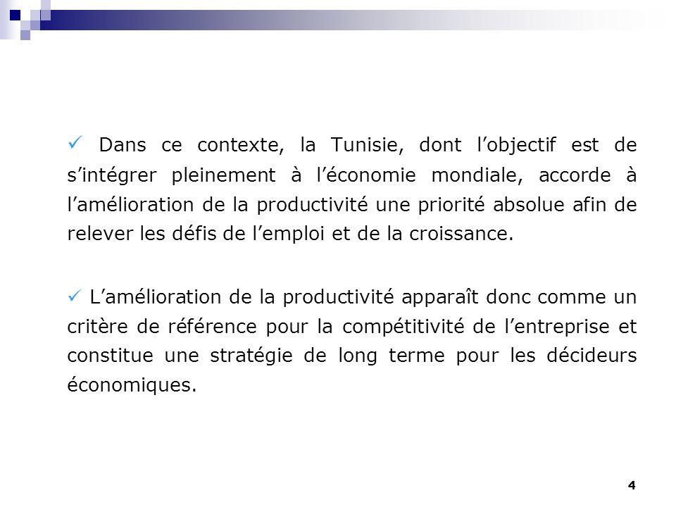 4 Dans ce contexte, la Tunisie, dont lobjectif est de sintégrer pleinement à léconomie mondiale, accorde à lamélioration de la productivité une priori