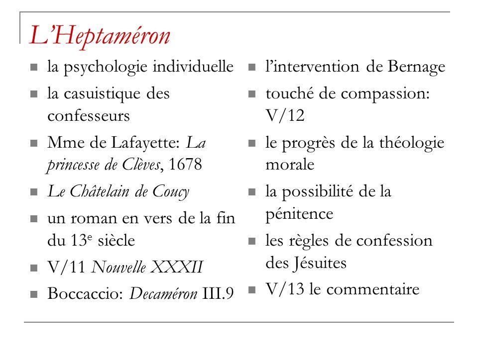 LHeptaméron la psychologie individuelle la casuistique des confesseurs Mme de Lafayette: La princesse de Clèves, 1678 Le Châtelain de Coucy un roman e