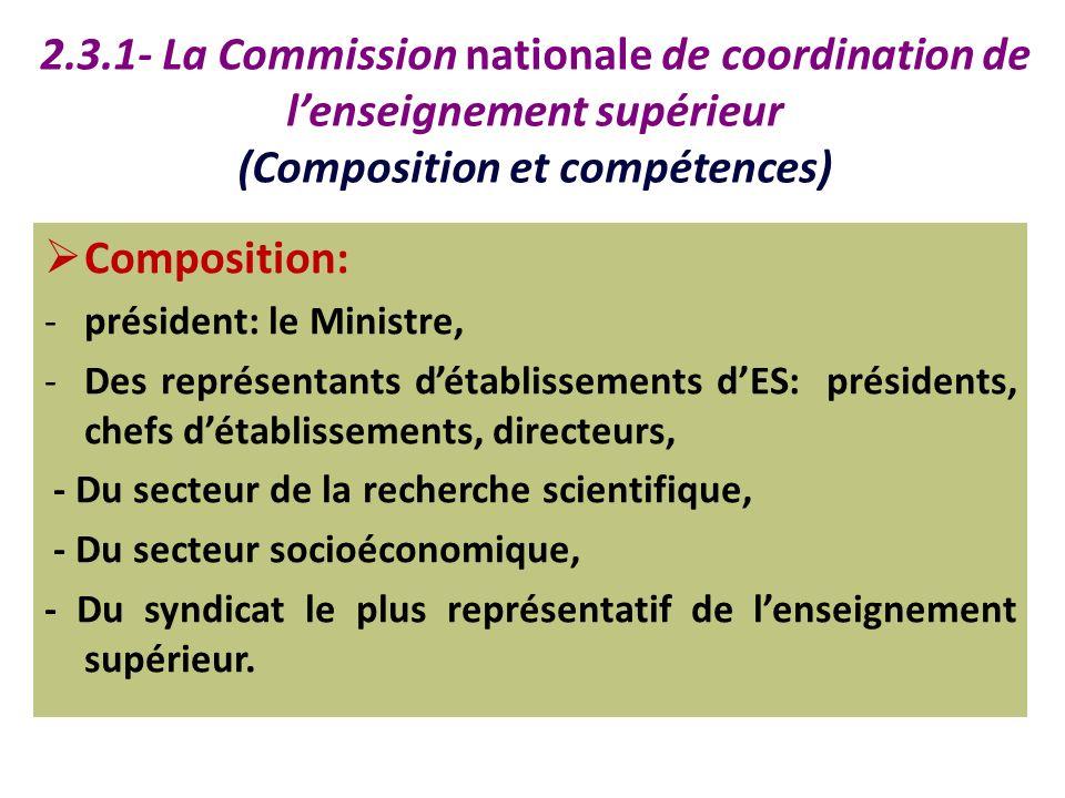 2.3.1- La Commission nationale de coordination de lenseignement supérieur (Composition et compétences) Composition: -président: le Ministre, -Des repr