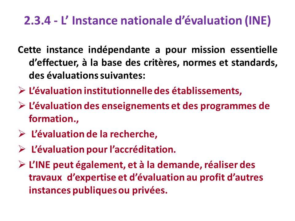 2.3.4 - L Instance nationale dévaluation (INE) Cette instance indépendante a pour mission essentielle deffectuer, à la base des critères, normes et st