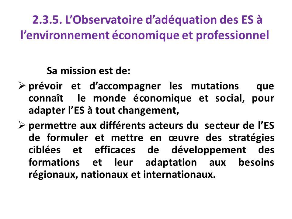 2.3.5. LObservatoire dadéquation des ES à lenvironnement économique et professionnel Sa mission est de: prévoir et daccompagner les mutations que conn