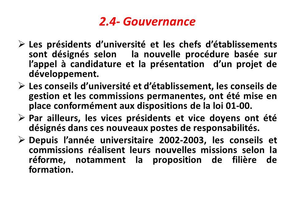 2.4- Gouvernance Les présidents duniversité et les chefs détablissements sont désignés selon la nouvelle procédure basée sur lappel à candidature et l