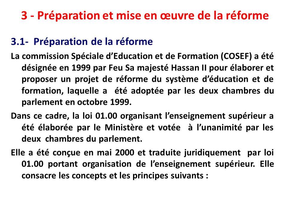 3 - Préparation et mise en œuvre de la réforme 3.1- Préparation de la réforme La commission Spéciale dEducation et de Formation (COSEF) a été désignée