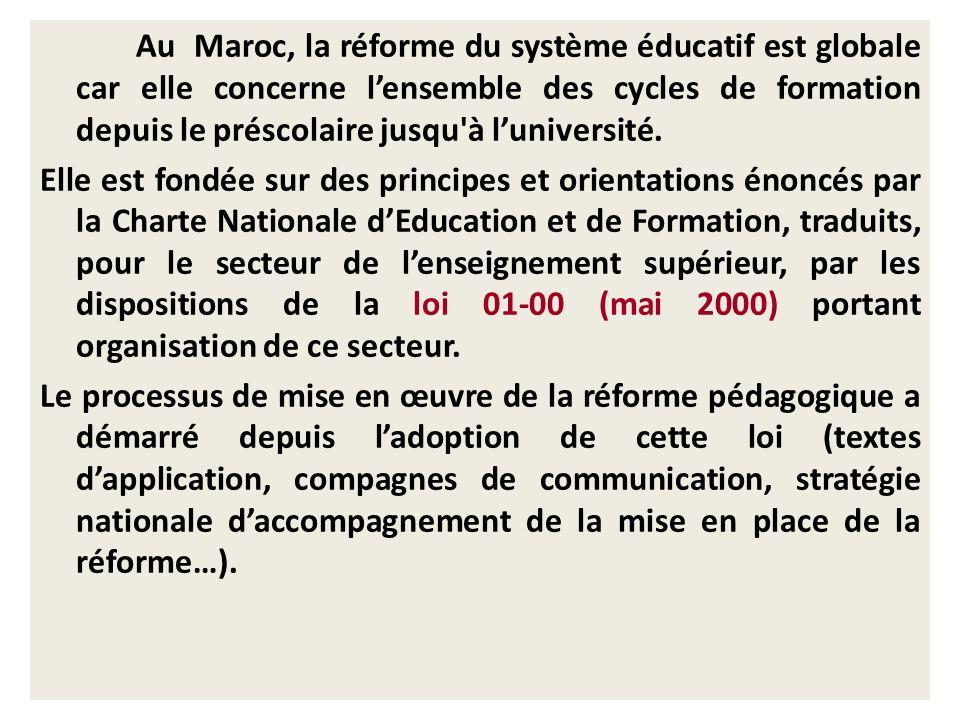 Préambule Au Maroc, la réforme du système éducatif est globale car elle concerne lensemble des cycles de formation depuis le préscolaire jusqu'à luniv