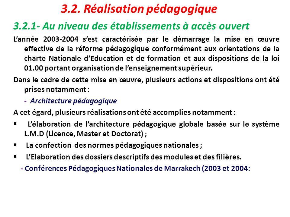 3.2.1- Au niveau des établissements à accès ouvert Lannée 2003-2004 sest caractérisée par le démarrage la mise en œuvre effective de la réforme pédago