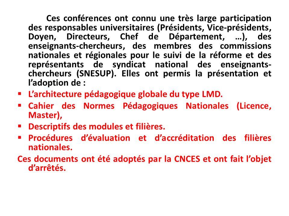 Ces conférences ont connu une très large participation des responsables universitaires (Présidents, Vice-présidents, Doyen, Directeurs, Chef de Départ