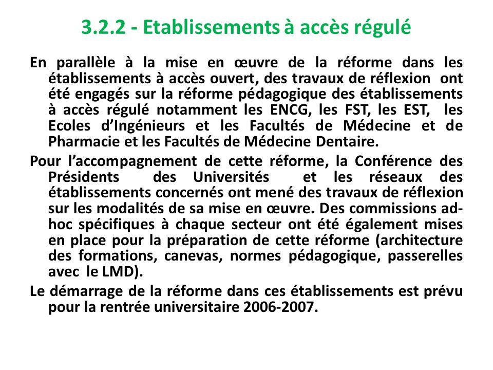 3.2.2 - Etablissements à accès régulé En parallèle à la mise en œuvre de la réforme dans les établissements à accès ouvert, des travaux de réflexion o