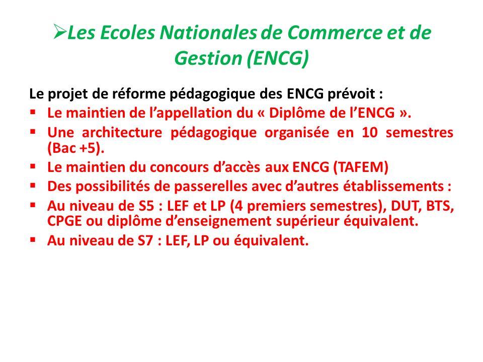 Les Ecoles Nationales de Commerce et de Gestion (ENCG) Le projet de réforme pédagogique des ENCG prévoit : Le maintien de lappellation du « Diplôme de