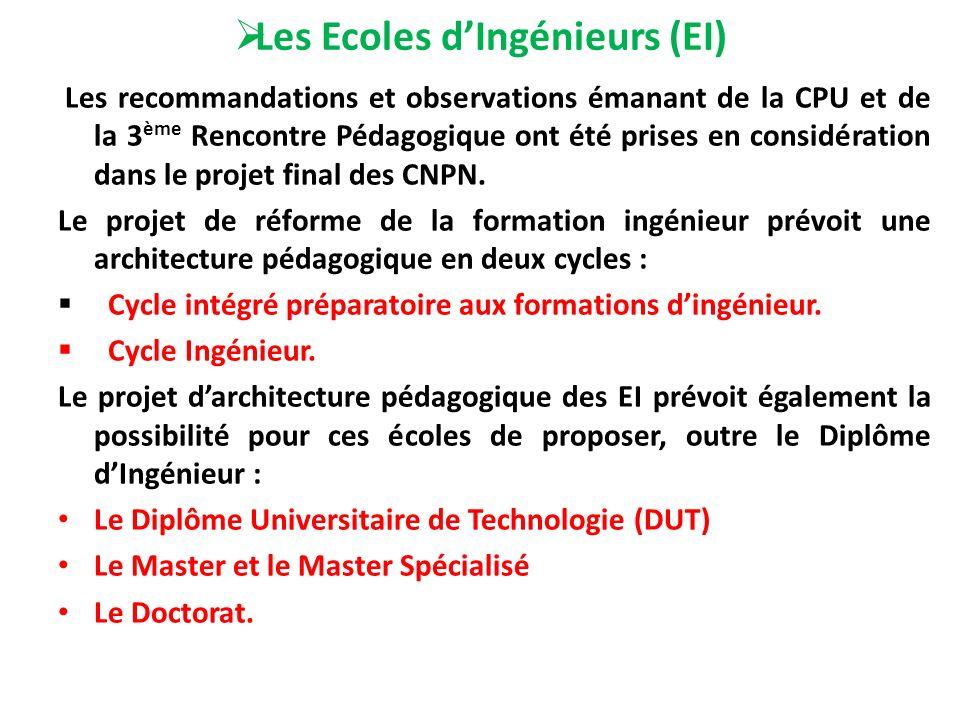 Les Ecoles dIngénieurs (EI) Les recommandations et observations émanant de la CPU et de la 3 ème Rencontre Pédagogique ont été prises en considération