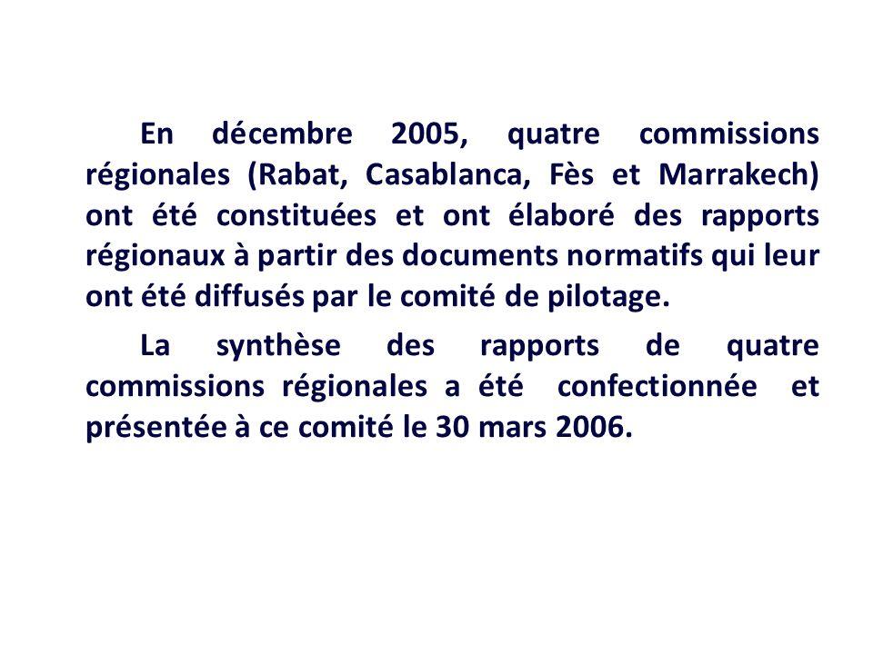 En décembre 2005, quatre commissions régionales (Rabat, Casablanca, Fès et Marrakech) ont été constituées et ont élaboré des rapports régionaux à part