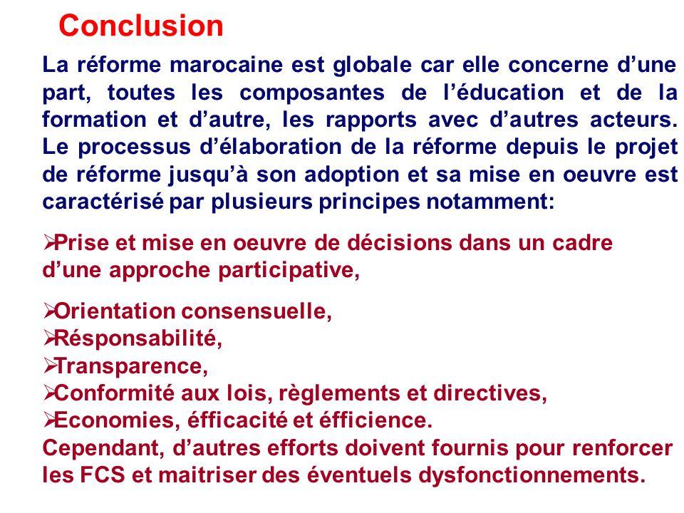 La réforme marocaine est globale car elle concerne dune part, toutes les composantes de léducation et de la formation et dautre, les rapports avec dau