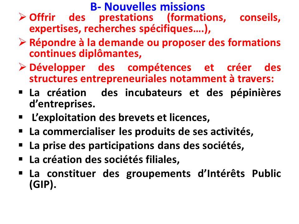 B- Nouvelles missions Offrir des prestations (formations, conseils, expertises, recherches spécifiques….), Répondre à la demande ou proposer des forma