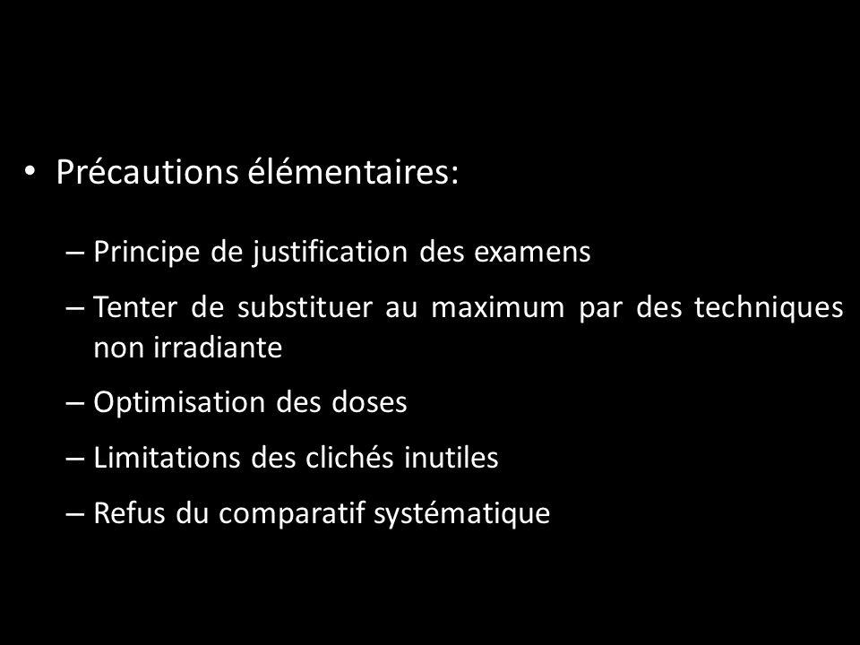 Précautions élémentaires: – Principe de justification des examens – Tenter de substituer au maximum par des techniques non irradiante – Optimisation d