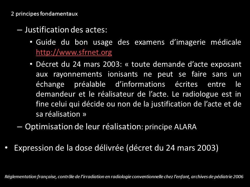 – Justification des actes: Guide du bon usage des examens dimagerie médicale http://www.sfrnet.org http://www.sfrnet.org Décret du 24 mars 2003: « tou