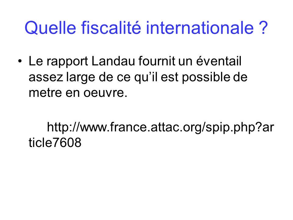 Le rapport Landau fournit un éventail assez large de ce quil est possible de metre en oeuvre. http://www.france.attac.org/spip.php?ar ticle7608
