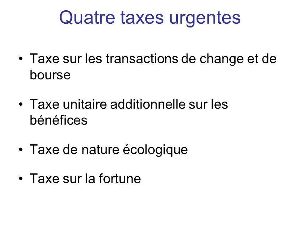 Quatre taxes urgentes Taxe sur les transactions de change et de bourse Taxe unitaire additionnelle sur les bénéfices Taxe de nature écologique Taxe sur la fortune