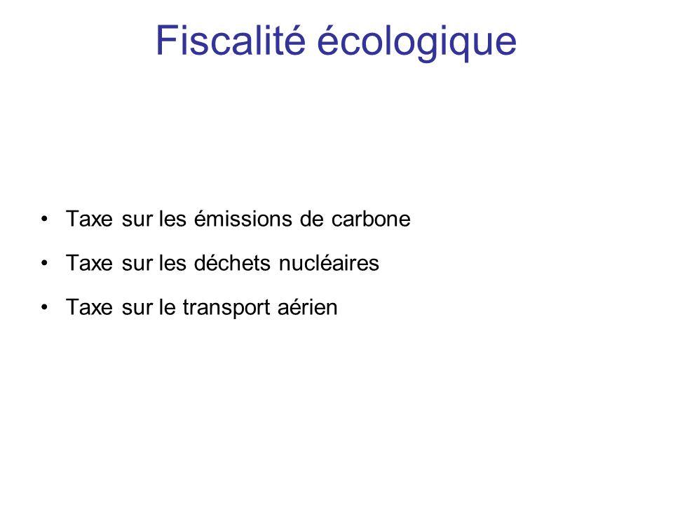 Fiscalité écologique Taxe sur les émissions de carbone Taxe sur les déchets nucléaires Taxe sur le transport aérien