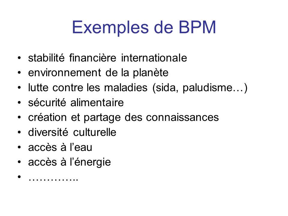 Exemples de BPM stabilité financière internationale environnement de la planète lutte contre les maladies (sida, paludisme…) sécurité alimentaire créa