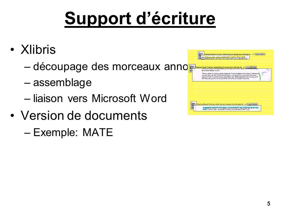 5 Support décriture Xlibris –découpage des morceaux annotés –assemblage –liaison vers Microsoft Word Version de documents –Exemple: MATE