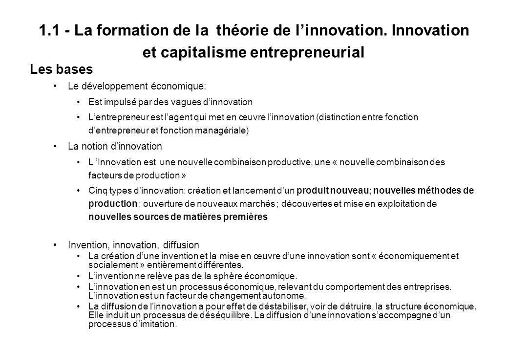 1.1 - La formation de la théorie de linnovation.