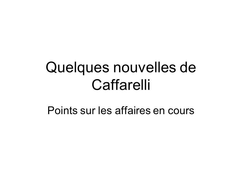 Quelques nouvelles de Caffarelli Points sur les affaires en cours
