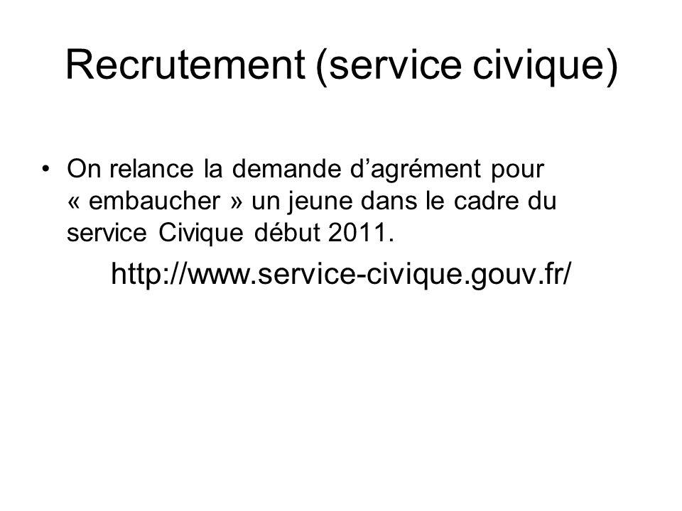 Recrutement (service civique) On relance la demande dagrément pour « embaucher » un jeune dans le cadre du service Civique début 2011.