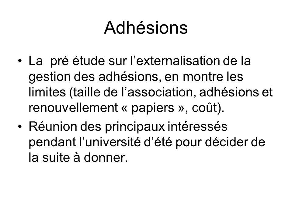 Adhésions La pré étude sur lexternalisation de la gestion des adhésions, en montre les limites (taille de lassociation, adhésions et renouvellement « papiers », coût).