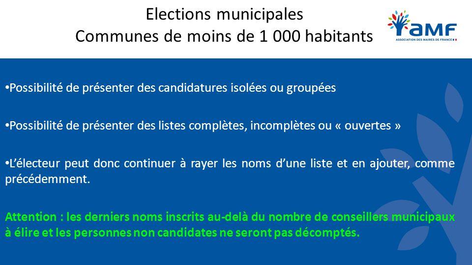 Elections municipales Communes de moins de 1 000 habitants Possibilité de présenter des candidatures isolées ou groupées Possibilité de présenter des
