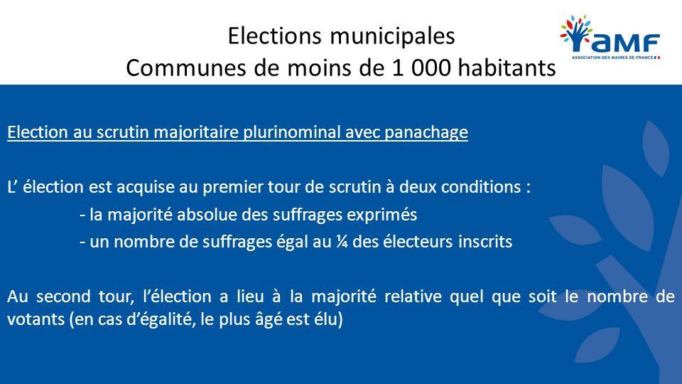 Elections municipales Communes de moins de 1 000 habitants Election au scrutin majoritaire plurinominal avec panachage L élection est acquise au premi
