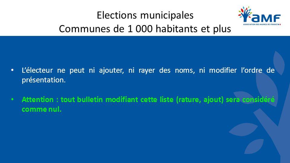 Elections municipales Communes de 1 000 habitants et plus Lélecteur ne peut ni ajouter, ni rayer des noms, ni modifier lordre de présentation. Attenti