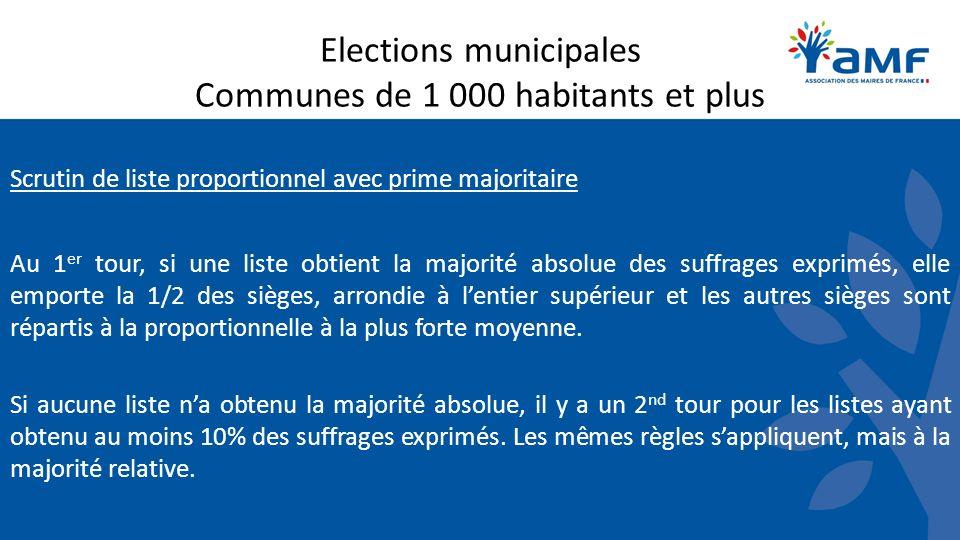 Scrutin de liste proportionnel avec prime majoritaire Au 1 er tour, si une liste obtient la majorité absolue des suffrages exprimés, elle emporte la 1/2 des sièges, arrondie à lentier supérieur et les autres sièges sont répartis à la proportionnelle à la plus forte moyenne.
