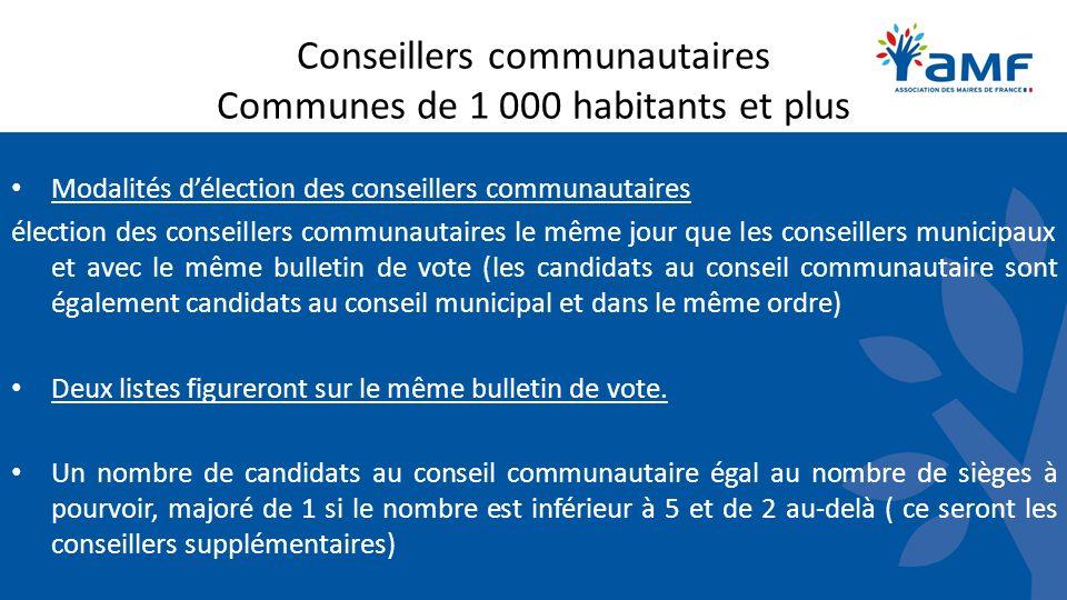 Conseillers communautaires Communes de 1 000 habitants et plus Modalités délection des conseillers communautaires élection des conseillers communautai