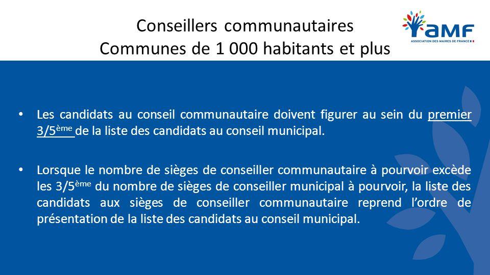 Conseillers communautaires Communes de 1 000 habitants et plus Les candidats au conseil communautaire doivent figurer au sein du premier 3/5 ème de la liste des candidats au conseil municipal.