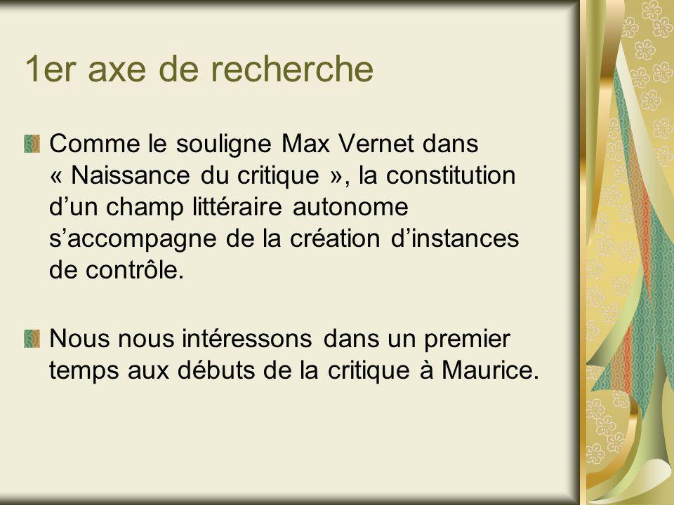 1er axe de recherche Comme le souligne Max Vernet dans « Naissance du critique », la constitution dun champ littéraire autonome saccompagne de la création dinstances de contrôle.