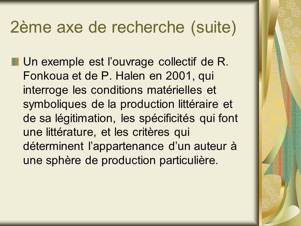 2ème axe de recherche (suite) Un exemple est louvrage collectif de R.