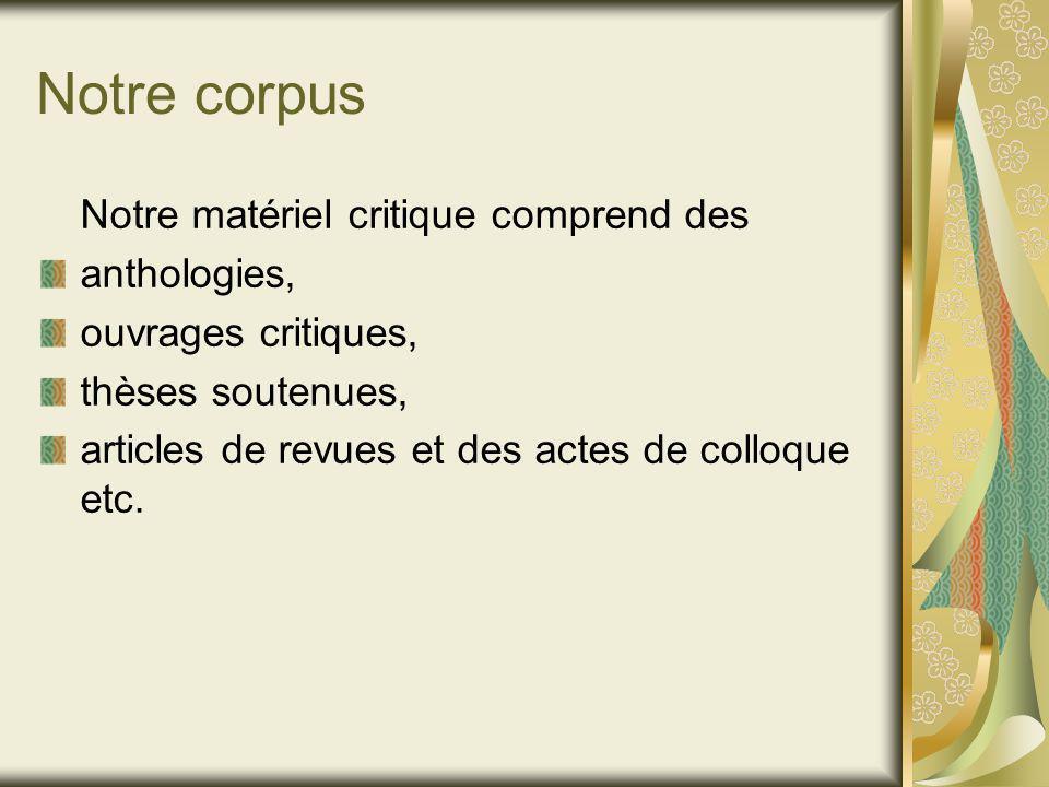Notre corpus Notre matériel critique comprend des anthologies, ouvrages critiques, thèses soutenues, articles de revues et des actes de colloque etc.