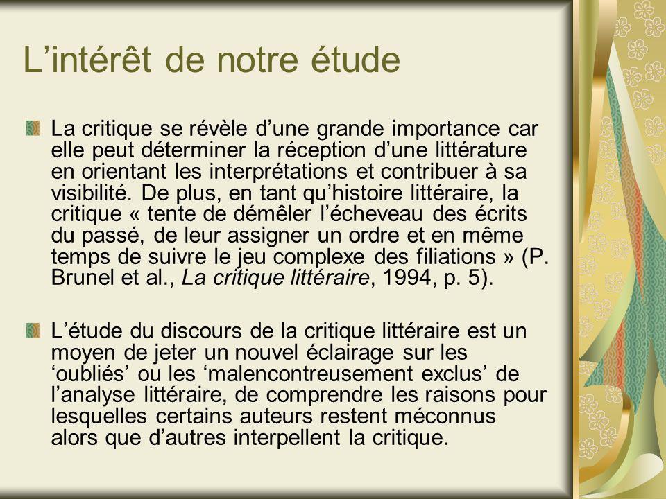 Lintérêt de notre étude La critique se révèle dune grande importance car elle peut déterminer la réception dune littérature en orientant les interprétations et contribuer à sa visibilité.