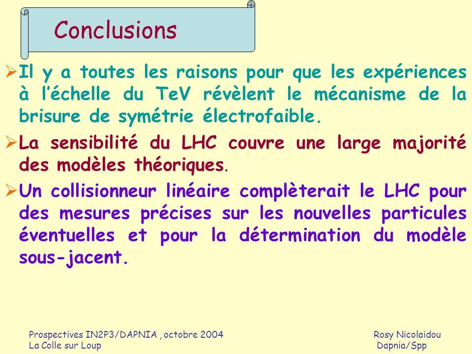 Prospectives IN2P3/DAPNIA, octobre 2004 Rosy Nicolaidou La Colle sur Loup Dapnia/Spp Il y a toutes les raisons pour que les expériences à léchelle du