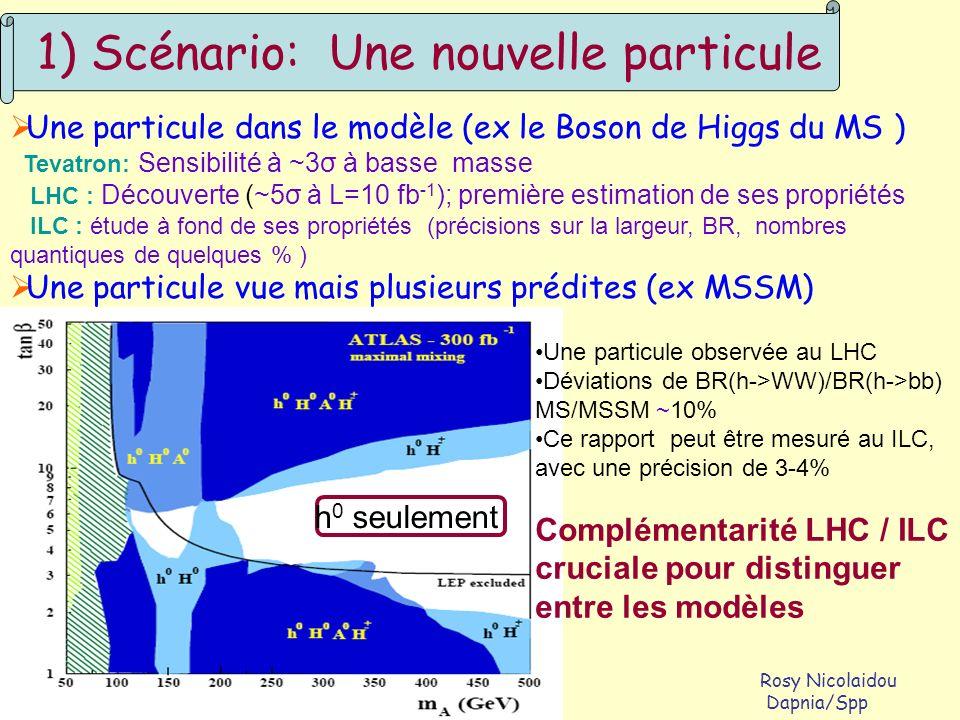 Prospectives IN2P3/DAPNIA, octobre 2004 Rosy Nicolaidou La Colle sur Loup Dapnia/Spp 1) Scénario: Une nouvelle particule Une particule dans le modèle